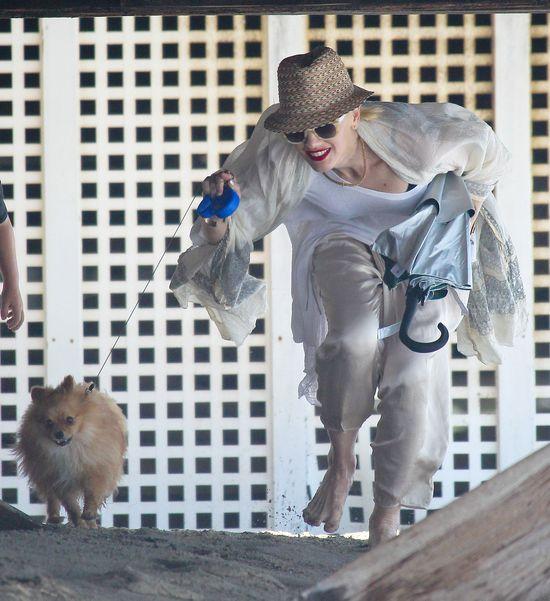 Gwen Stefani na plaży z synami