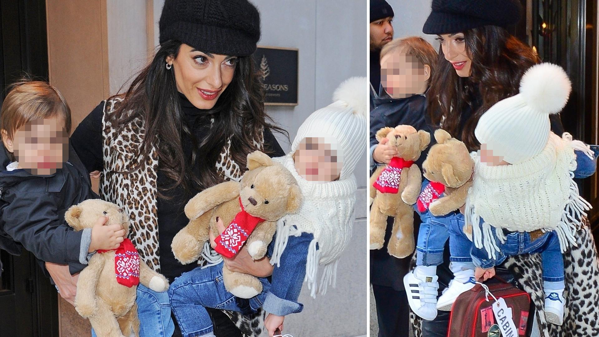 Amal Clooney z dziećmi przed hotelem w Nowym Jorku