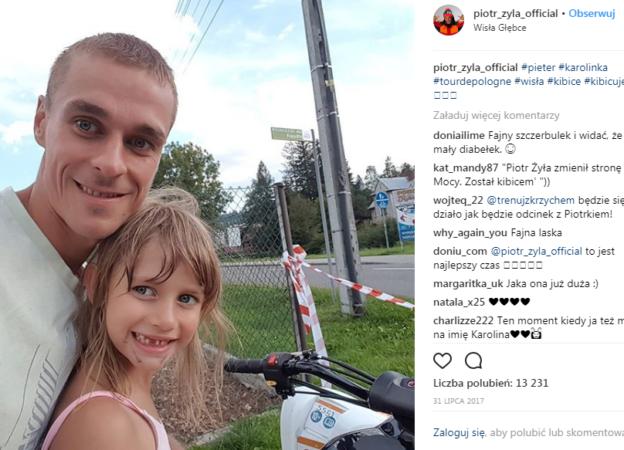 Piotr Żyła z córką