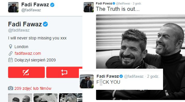 Fadi Fawaz, były partner George'a Michaela, OSTRO na Twitterze: F*CK YOU