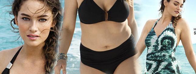 Puszysta modelka reklamuje kostiumy kąpielowe H&M