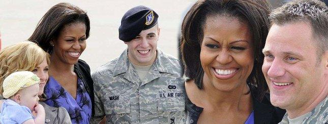 Protest lotników na spotkaniu z Michelle Obamą (FOTO)