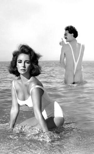 Borat na plaży z Liz Taylor
