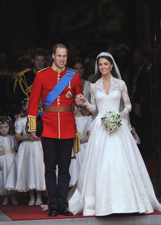 File photo shows Britain's Prince William and Catherine, Duchess of Cambridge, walking after their wedding ceremony in Westminster Abbey in central London