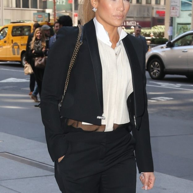 Jennifer Lopez looks great in a sleek suit while heading to Sirius radio Jennifer Lopez
