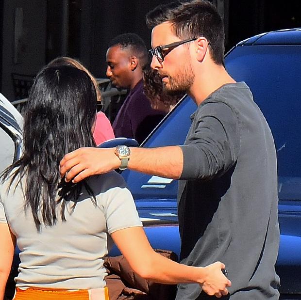 Kourtney Kardashian meets up with ex Scott Disick to drop off daughter Reign in Malibu, CA.