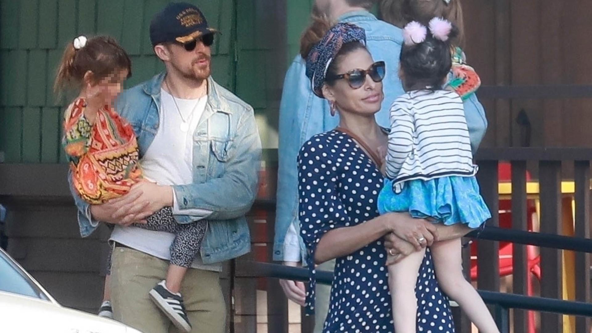 Piękna Eva Mendes ze swym przystojnym mężem, Ryanem Goslingiem i córkami (ZDJĘCIA)