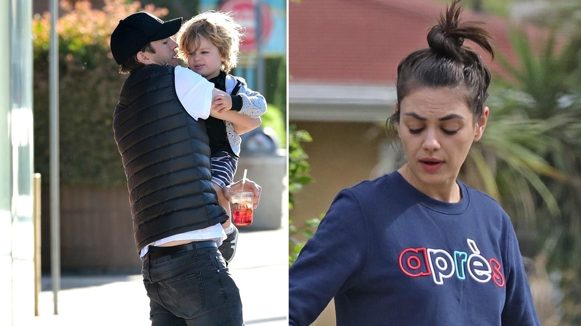 Mila Kunis i Ashton Kutcher zabrali dzieci na śniadanie (ZDJĘCIA)