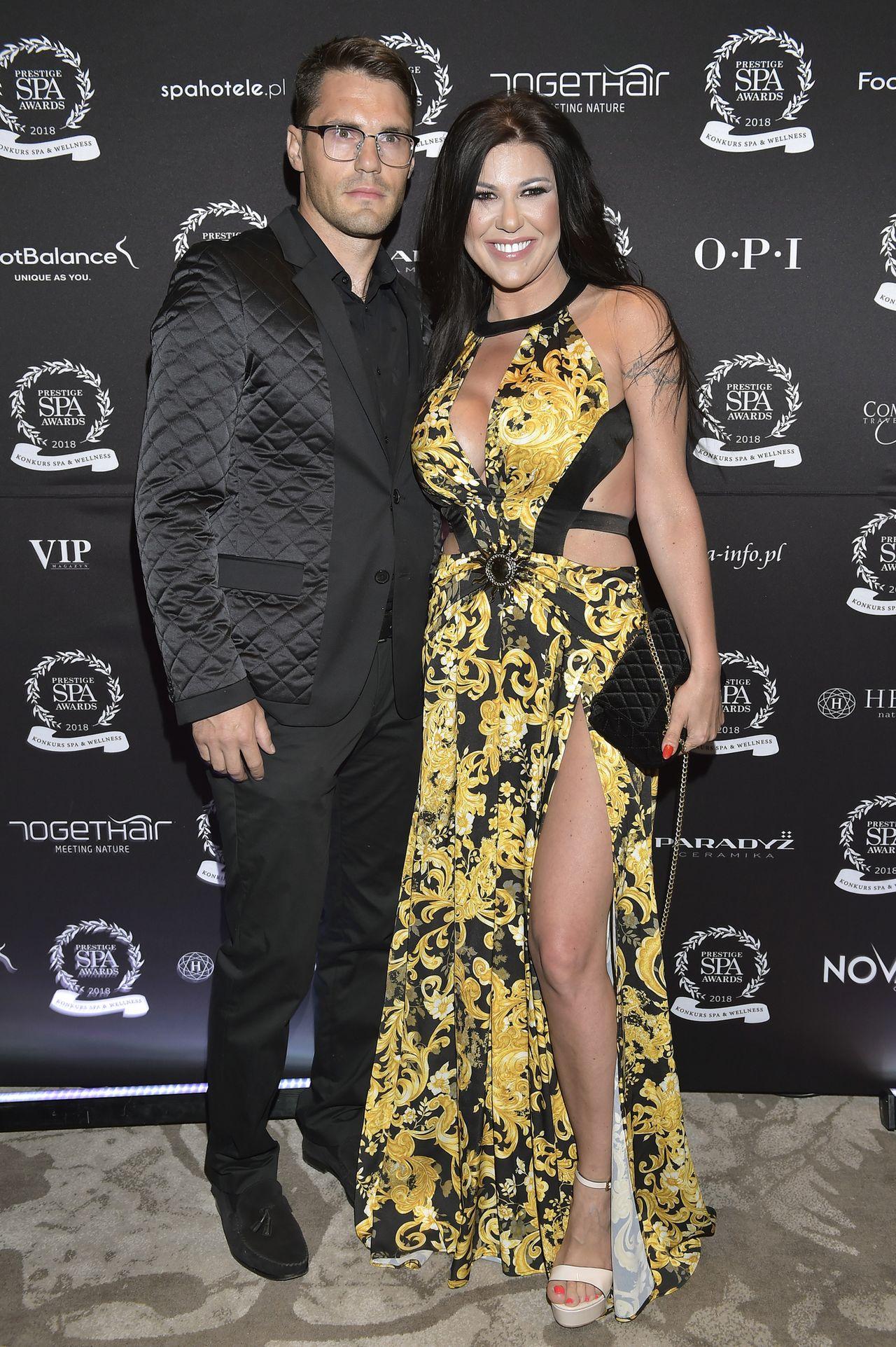 Iwona Węgrowska z partnerem, Maciejem Marcjanikiem