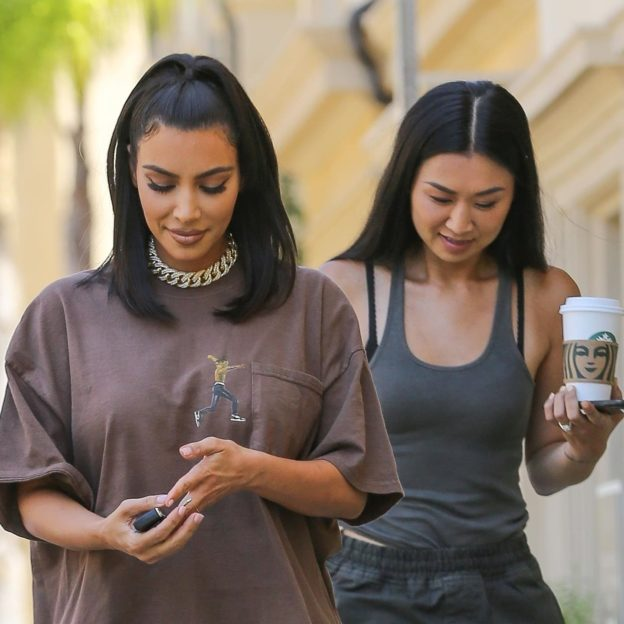 *EXCLUSIVE* Kim Kardashian rocks Travis Scott merch during a meeting in Calabasas