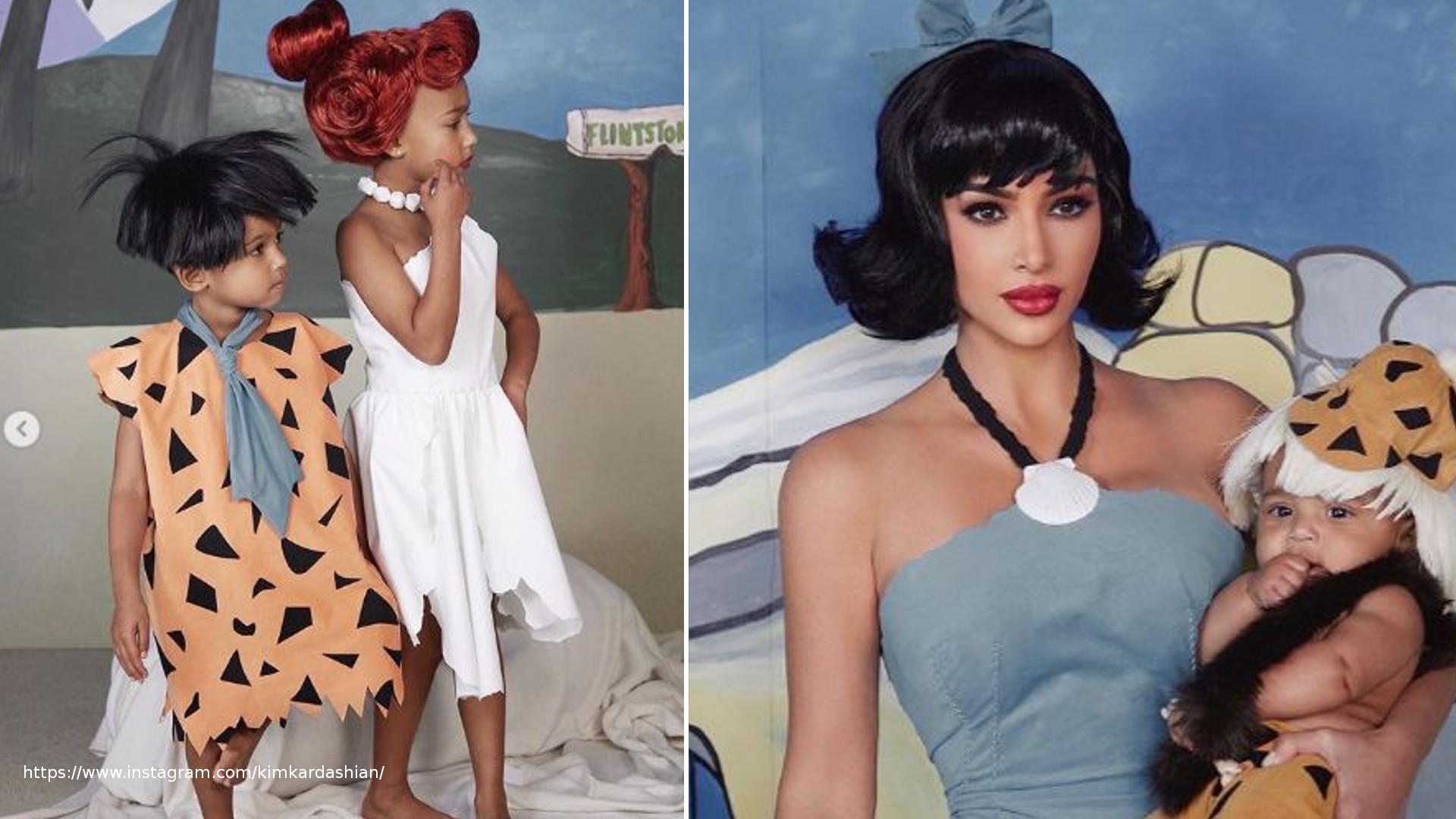 Kim Kardashian z dziećmi jako rodzina Flinstonów na Halloween (ZDJĘCIA)
