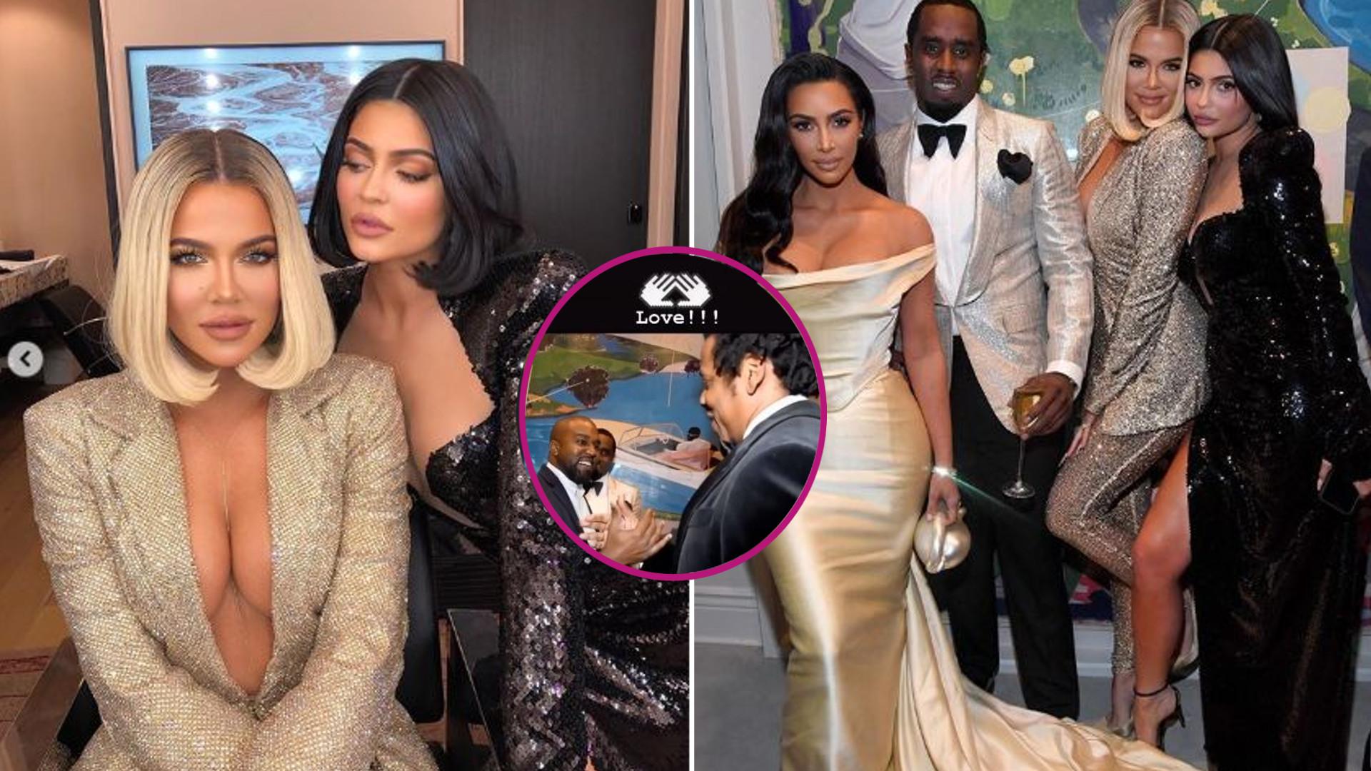 Seksowne Kim, Kylie i Khloe na urodzinach P. Diddy'ego i TEN UŚCISK między Kanye i Jayem Z
