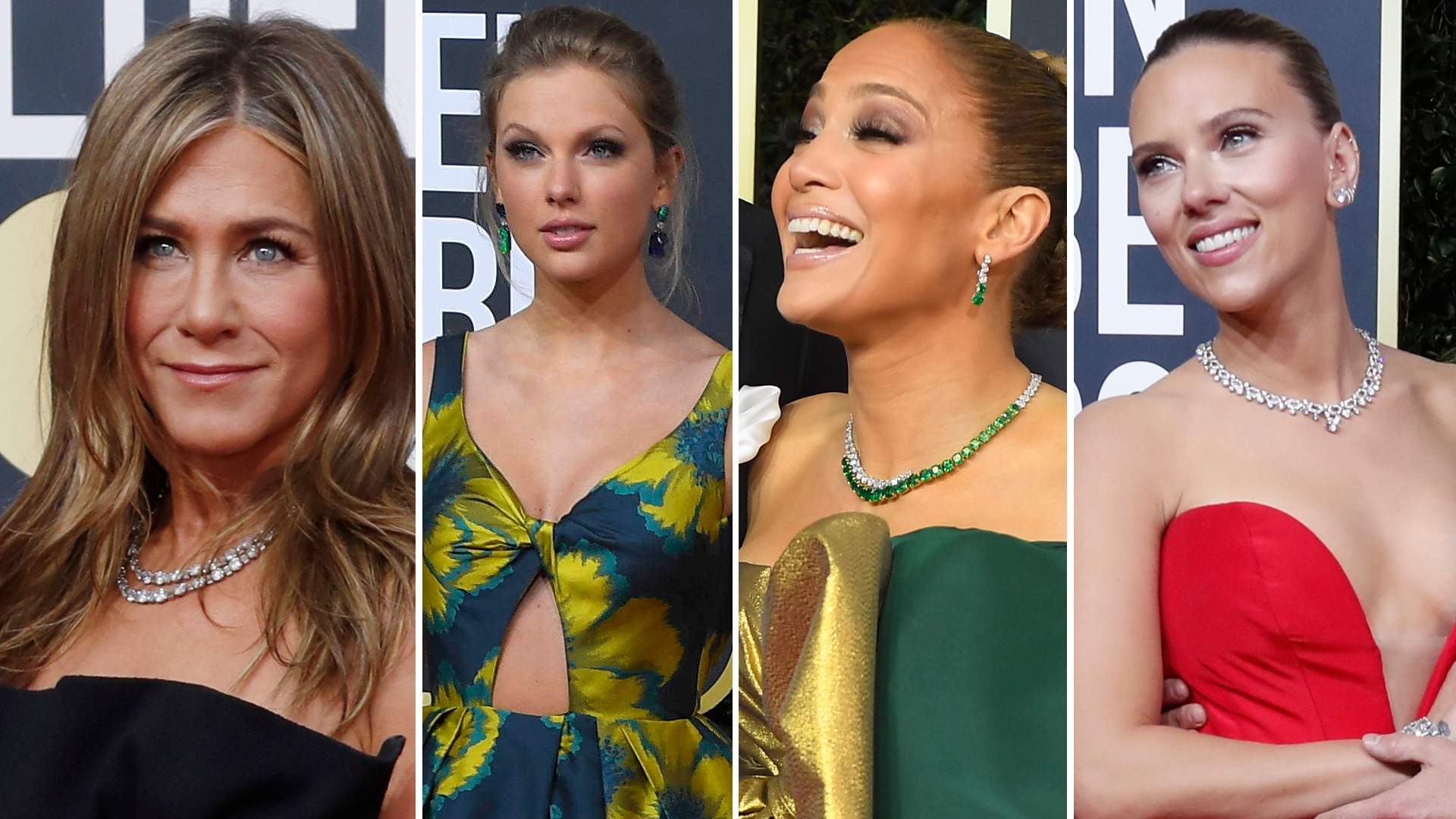 Złote Globy 2020: Jennifer Aniston w czarnej kreacji od Diora, Scarlett Johansson w obłędnej czerwieni i fatalna suknia Jennifer Lopez
