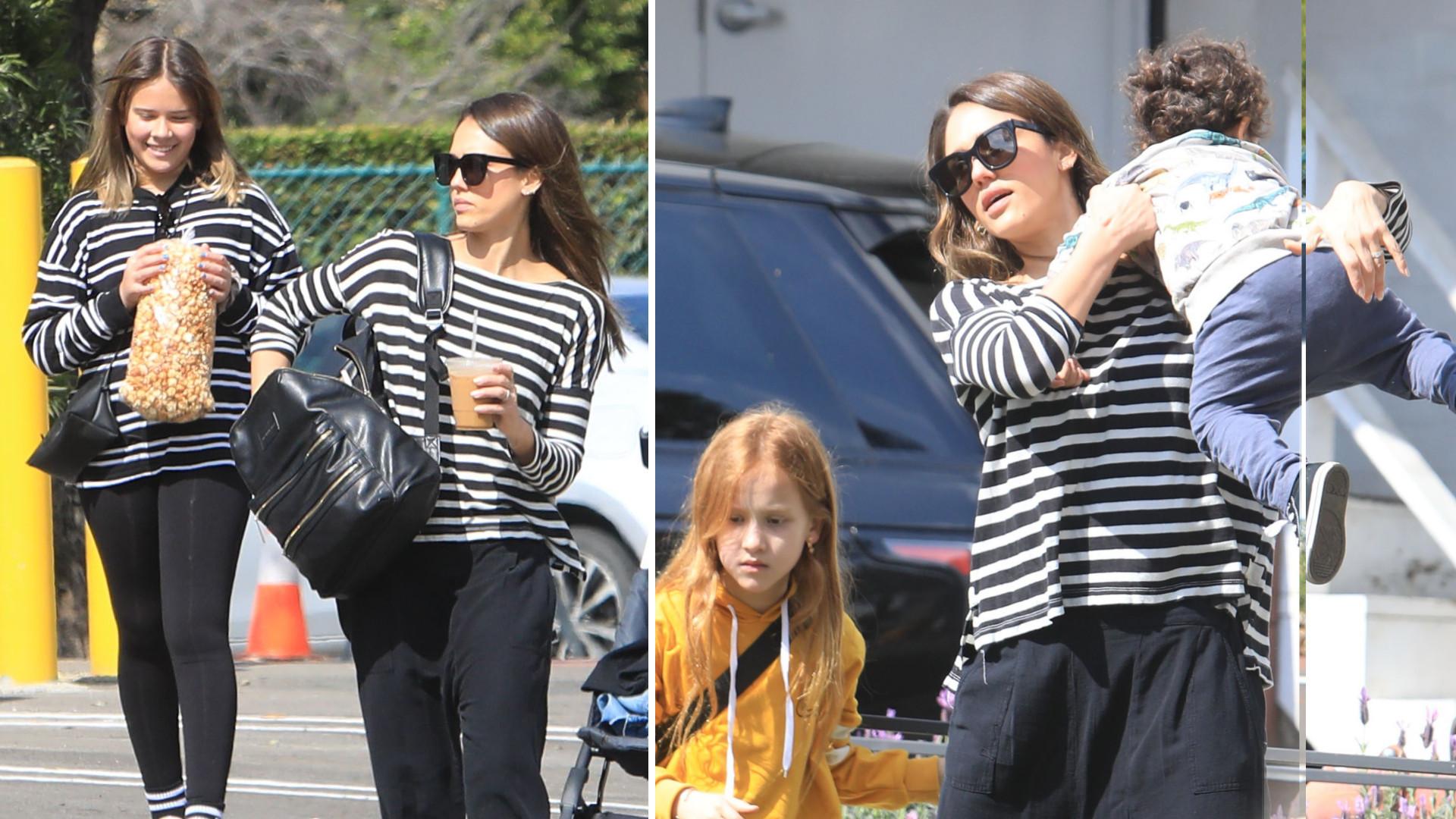 Jessica Alba z całą rodziną – najmłodszy syn daje w kość, córka to cała mama!